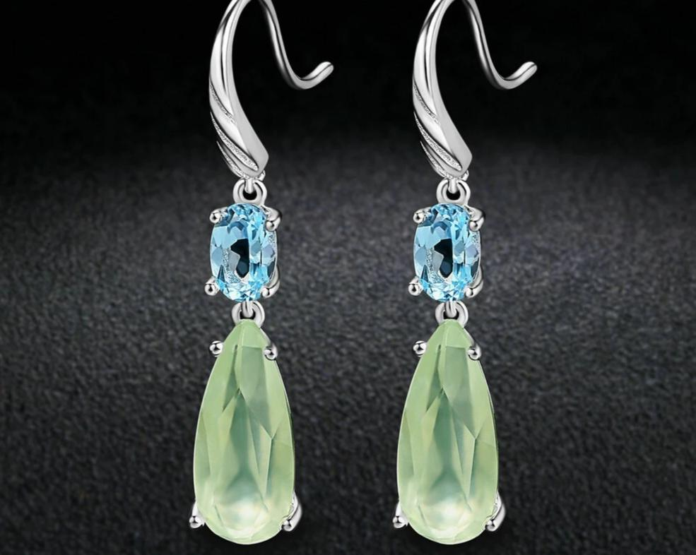 Prehnite Sterling Silver Earrings