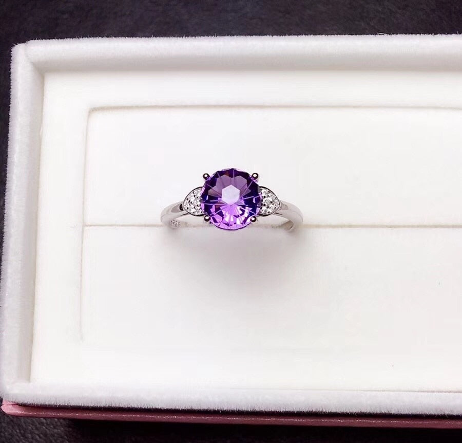 Natural amethyst ring, 925 silver
