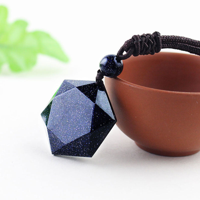 Blue Sandstone Bead Ball Six Star Necklace - spiritualistbabe