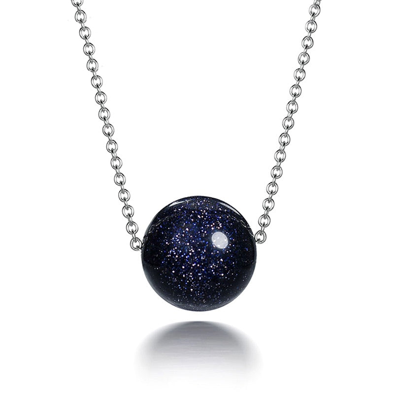 The Universe Natural Blue Sand Stone Necklace - spiritualistbabe