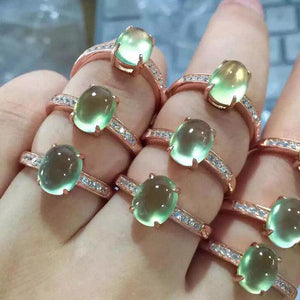 Oval Natural Prehnite Rose Gold Color Real Silver Ring