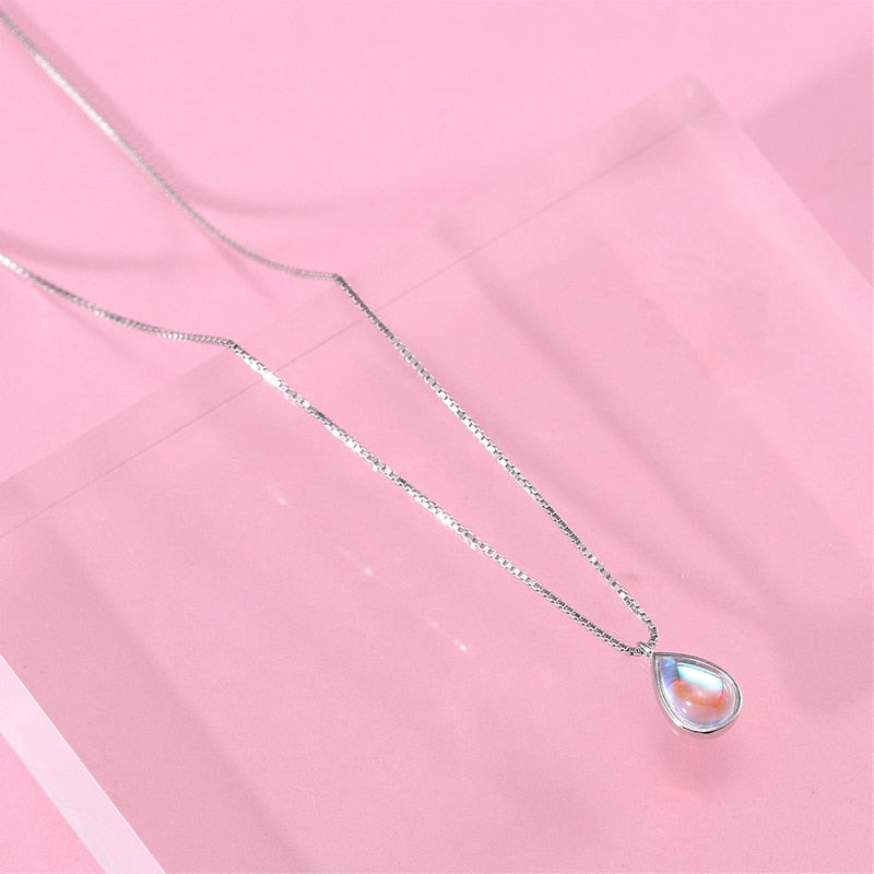 925 Sterling Silver Natural Stone Moonstone Water Drop Necklaces