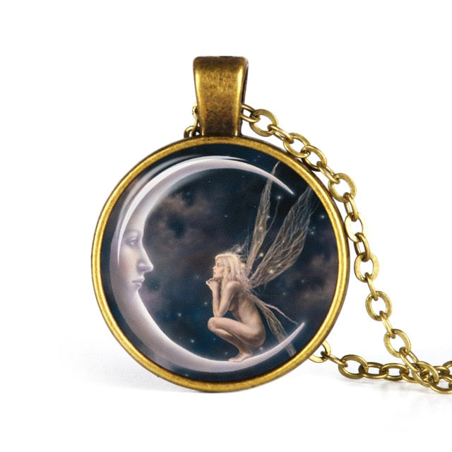 Fairy In Moon Pendant Necklace