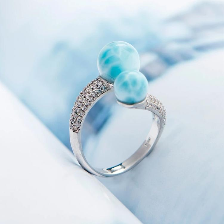 Blue Natural Larimar Gemstone Rings