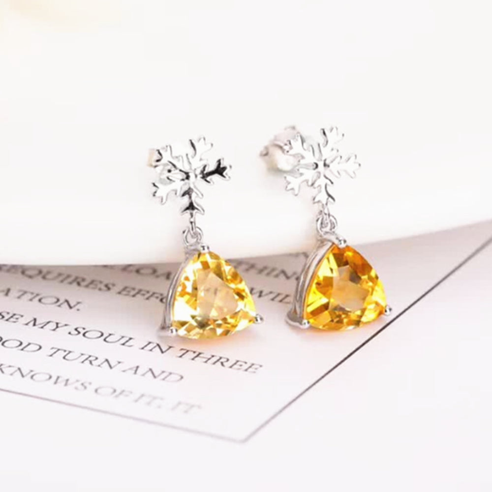 Citrine 925 sterling silver natural yellow crystal stud earrings