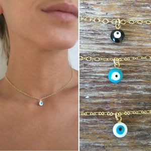 Delicate Dainty Evil Eye Necklace Gold
