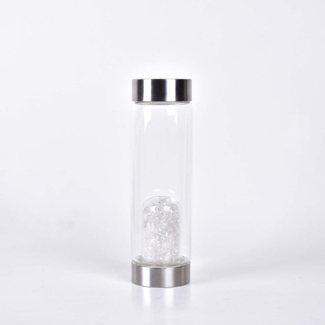Hand-Carved Gemstone Healing Glass - The Energy Water Bottle with natural quartz crystal gemstones