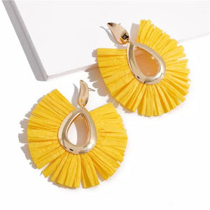 Yellow Raffia Statement Earring