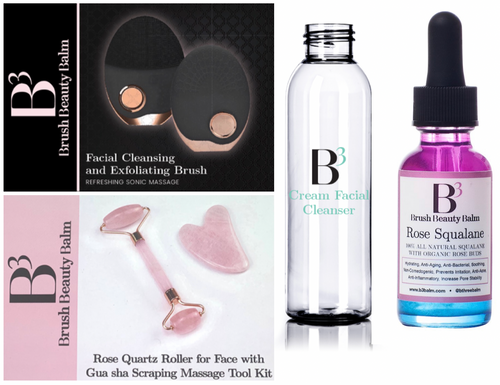 Rose QuartzRoller/Gua Sha Set, Facial Cleansing & Exfoliating Brush, cleanser & Rose Squalane Set - B3 Balm