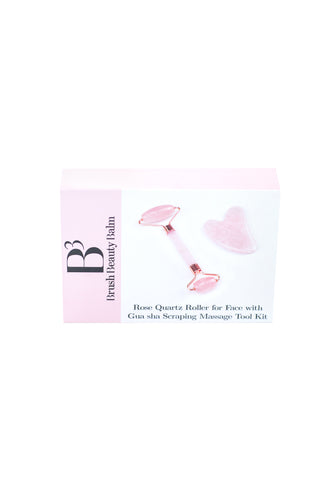 Rose Quartz Facial Roller & Gua Sha Set - B3 Balm
