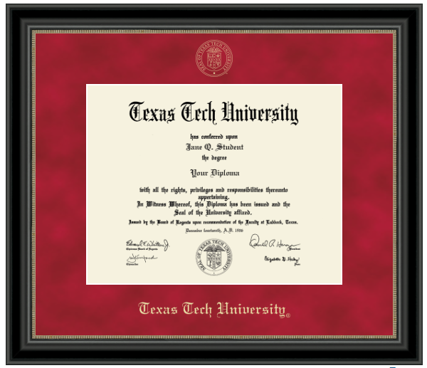 diploma frame red matte with black frame with seal
