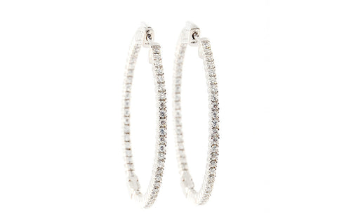 White Zirconia Clasp Large Hoops