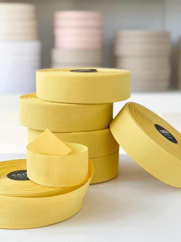 "SALE - Tight weave cotton ribbon  1 1/2"" width- Lemon"