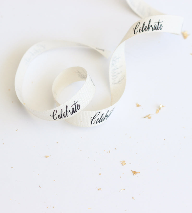 Celebrate calligraphy ribbon