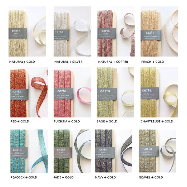 Metallic loose weave cotton ribbon | wood paddle 10 Yards