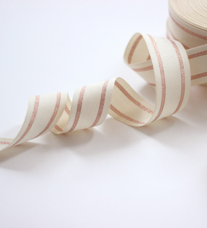 Wood spool striped cotton ribbon