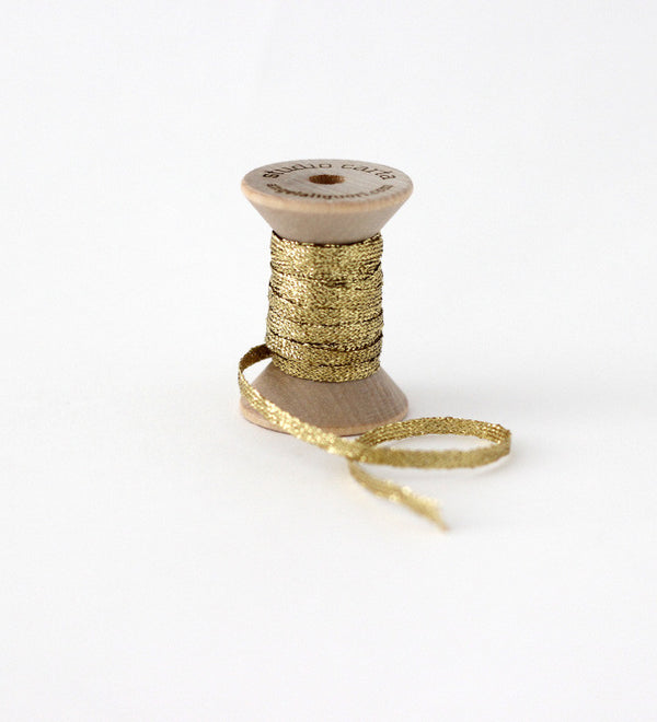 Metallic Braided ribbon wood spool