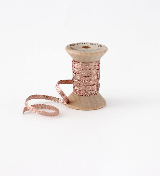 Metallic * Braided ribbon wood spool