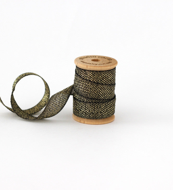 Metallic Loose weave wood spool 3 yards