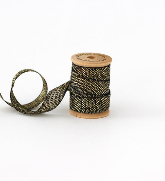 Metallic * Loose weave wood spool 3 yards