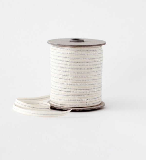 "Metallic Line Tight weave cotton ribbon 1/4"" width"