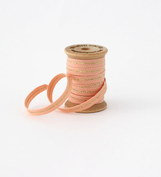 "Metallic Line Wood Spool * Tight weave Cotton ribbon 1/4"" width"