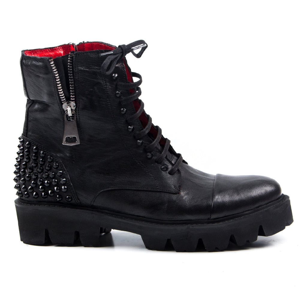 Kensington- SG1003 Washed Leather, Red Lining Boots with Studs- Unisex