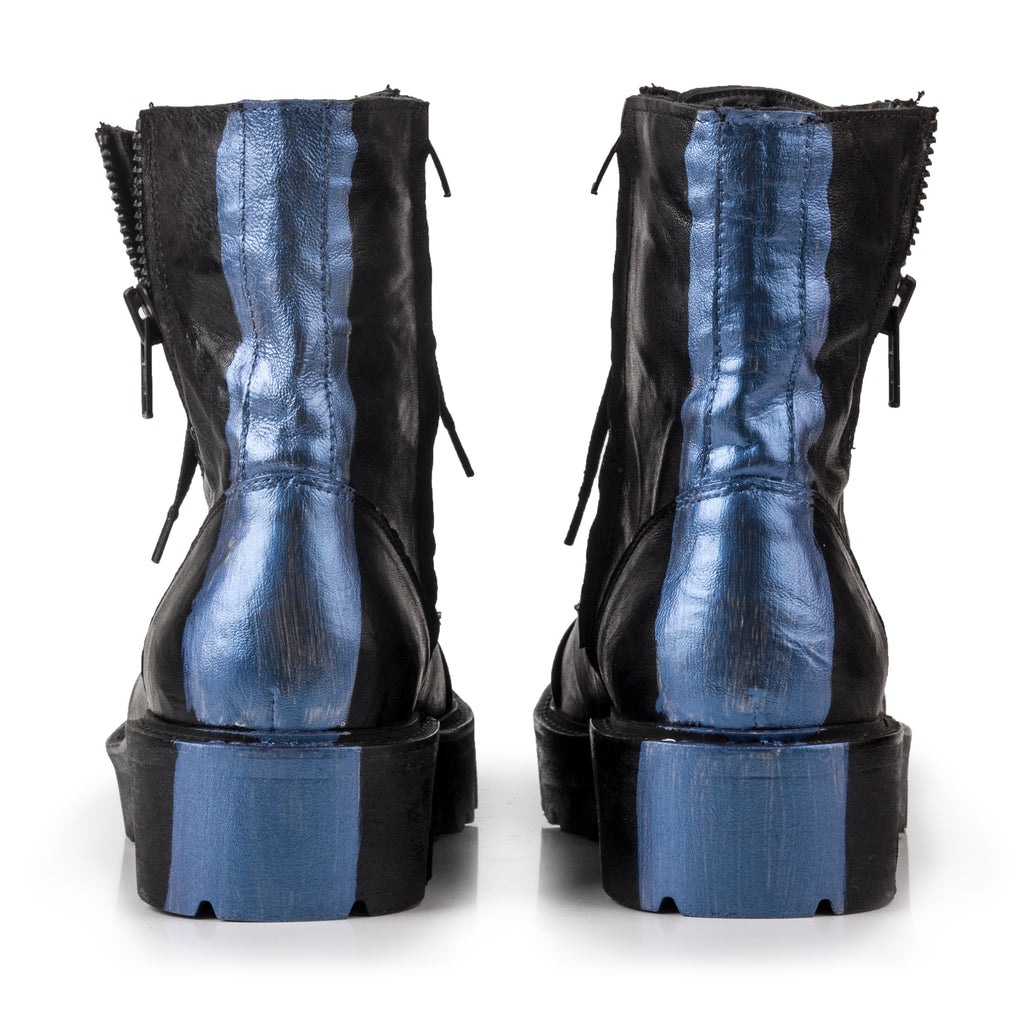 Mila- SG1010 Leather Boots with Blue Stripe detail- Unisex