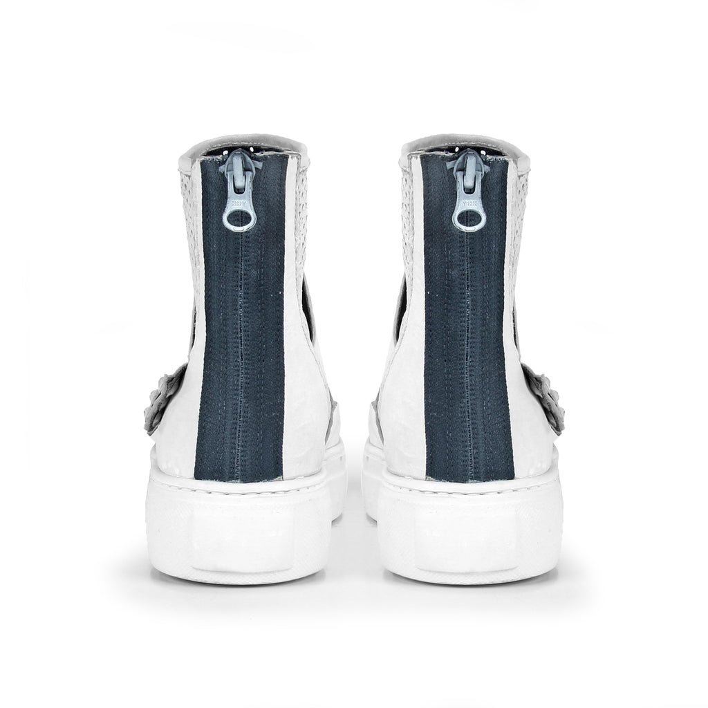 Bella- SG2011 White Leather Trendy Summer Boots- Unisex