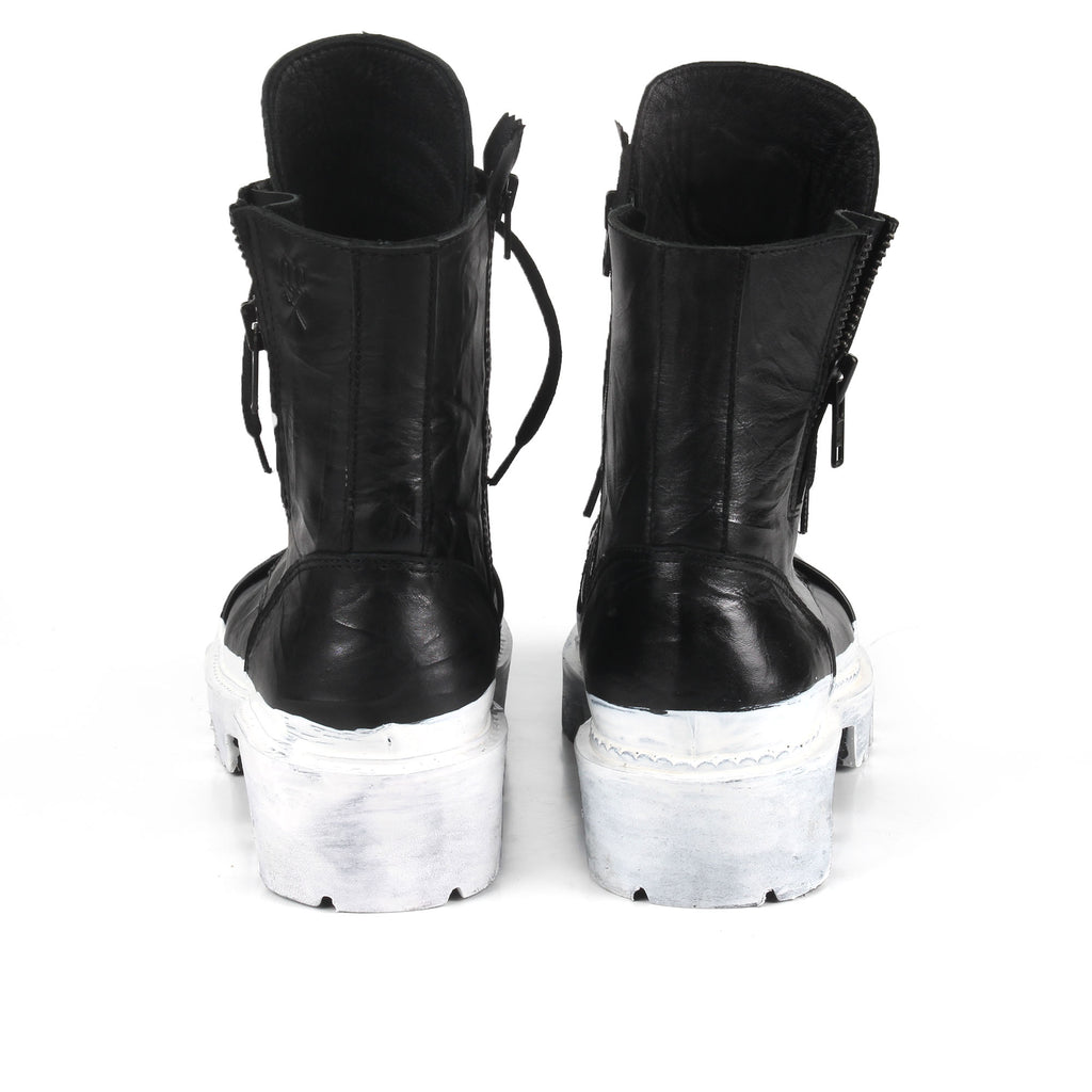 Rommy White- SG4070 Handpainted White Stripe Combat Boots
