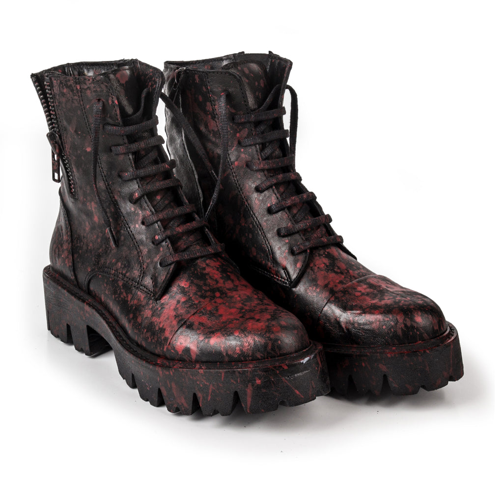 Rock- SG1006 Genuine Leather Splash Painted Combat Boots- Unisex