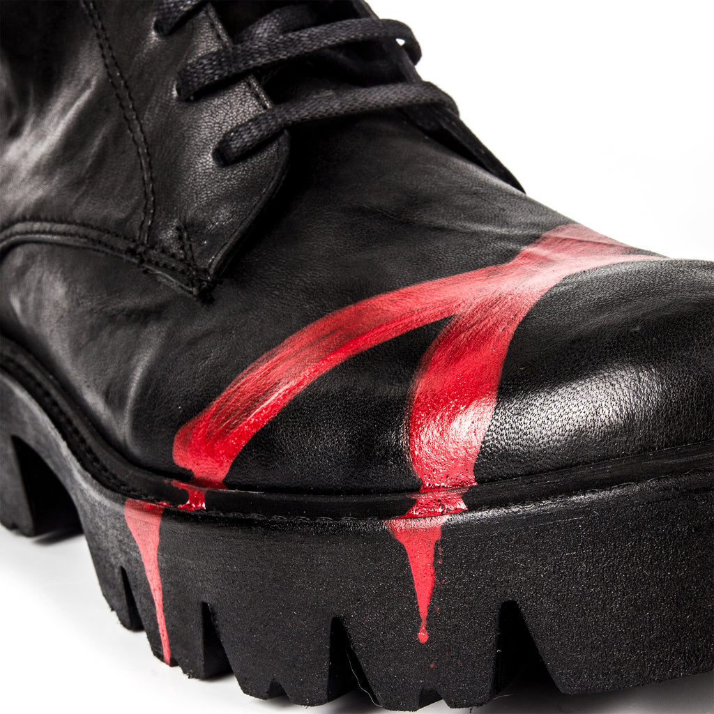 Rodeo- SG1009 Genuine Leather Red Painted Combat Boots- Unisex