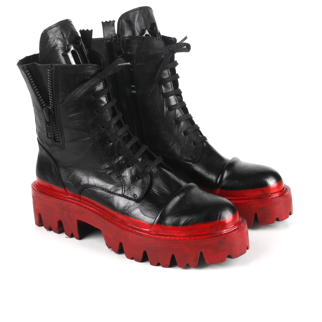 Rommy Red- SG4069 Handpainted Red Stripe Combat Boots