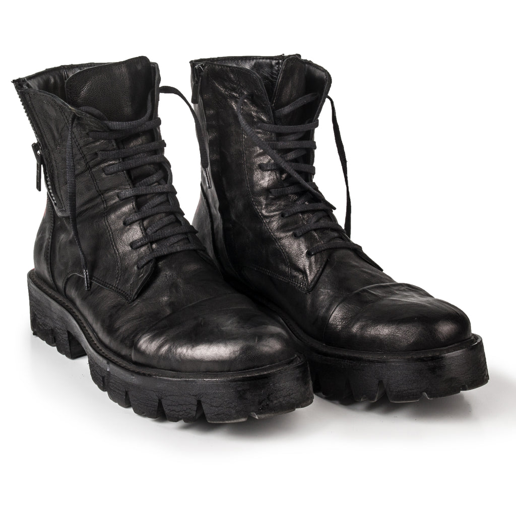 Icon- SG1008 Black Leather Boots with X- Unisex