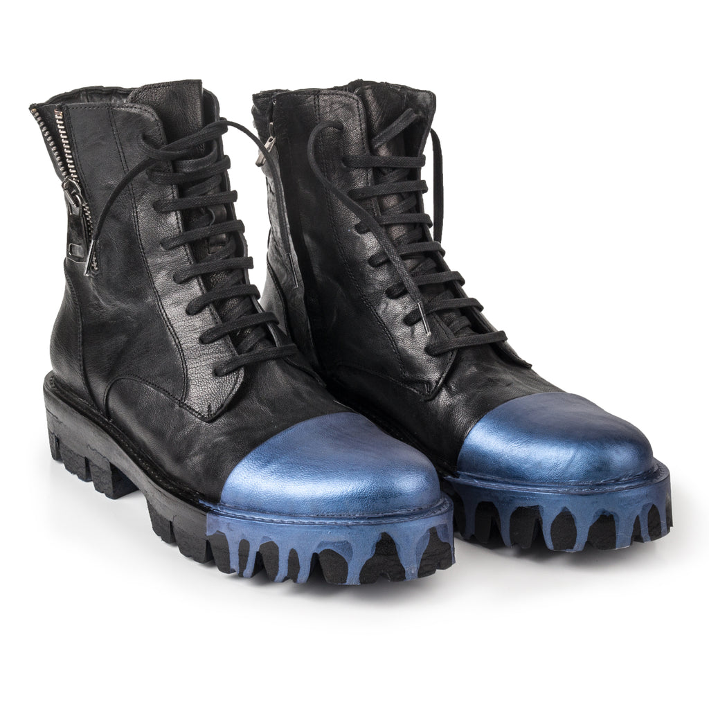 Sting- SG1007 Leather Boots, Metallic Blue Painted Toe- Unisex