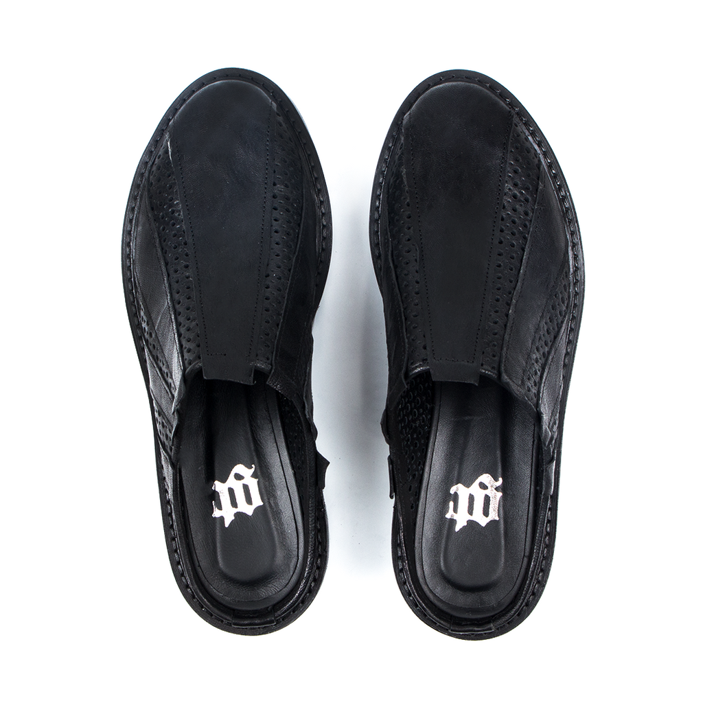 Roux- SG1050  Genuine Leather Black Slippers- Unisex