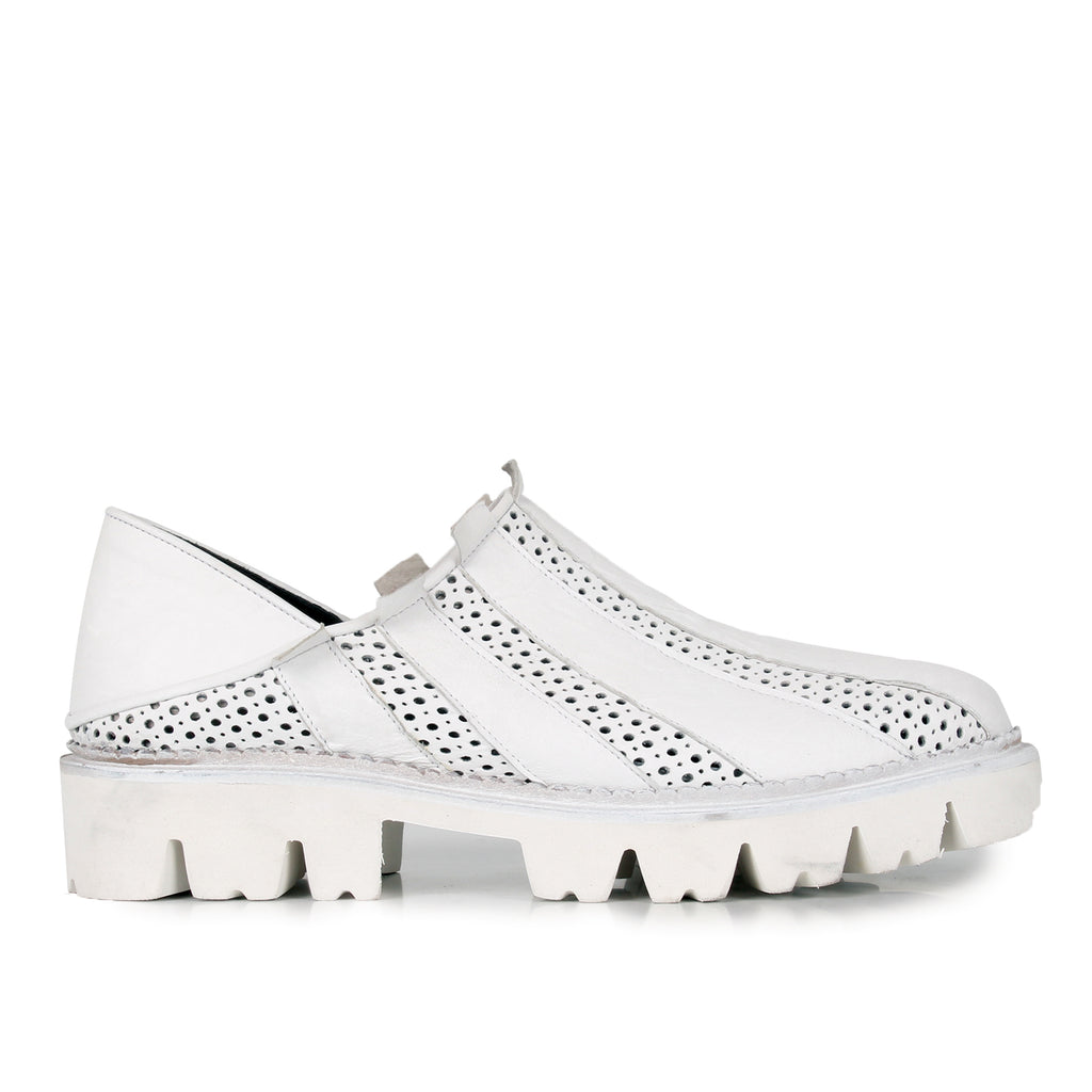 Denvy- SG2020 Genuine Leather White Summer Shoes