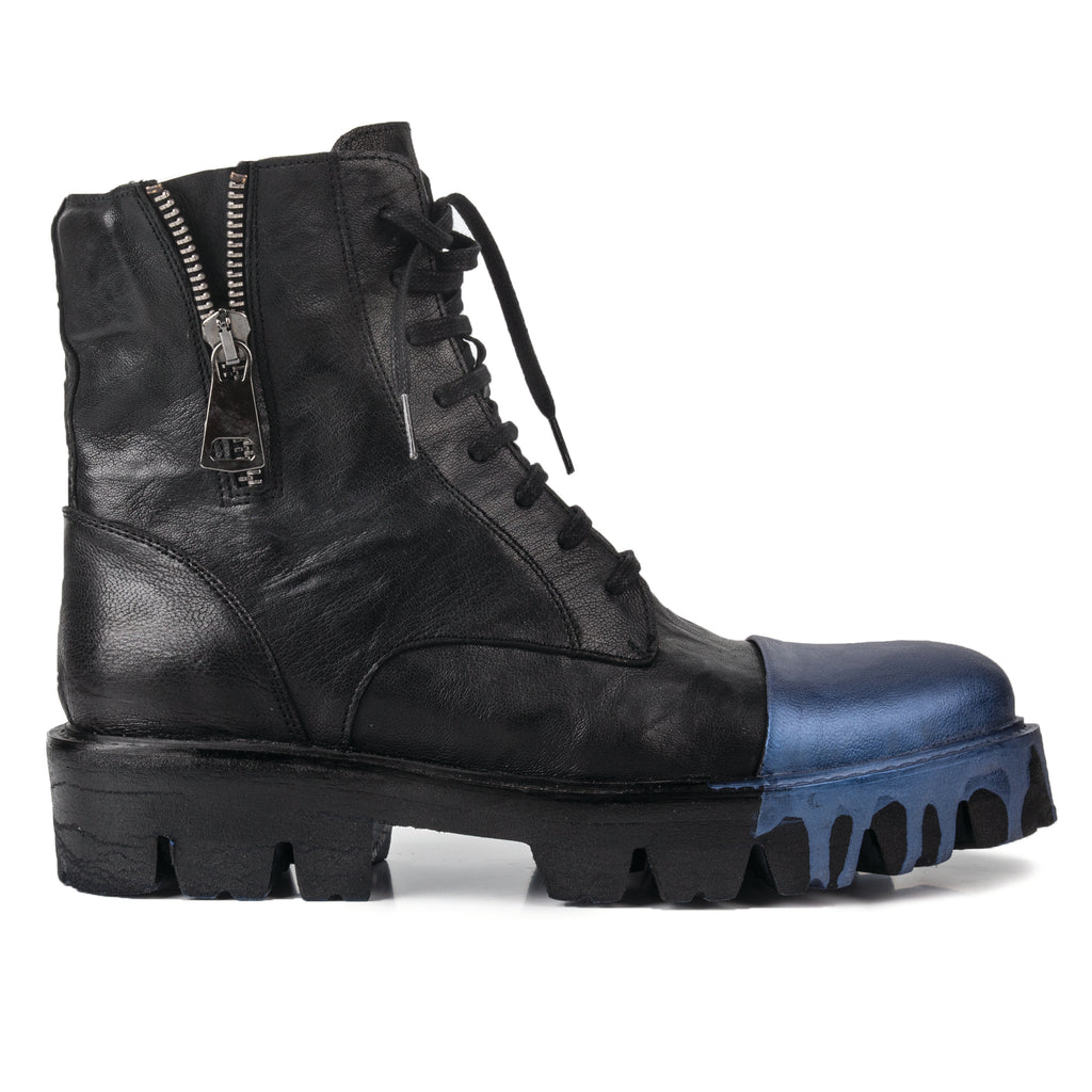 Sting- SG1007  Metallic Blue Painted Combat Boots