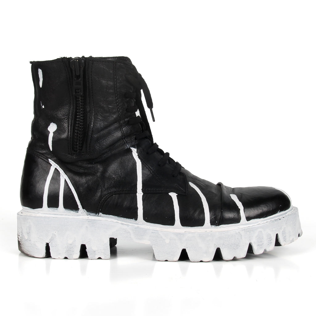 Tenda- SG4048 Black Leather Handpainted Combat Boots- Unisex