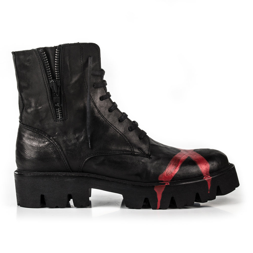 Rodeo- SG1009 Genuine Leather Red Painted Combat Boots