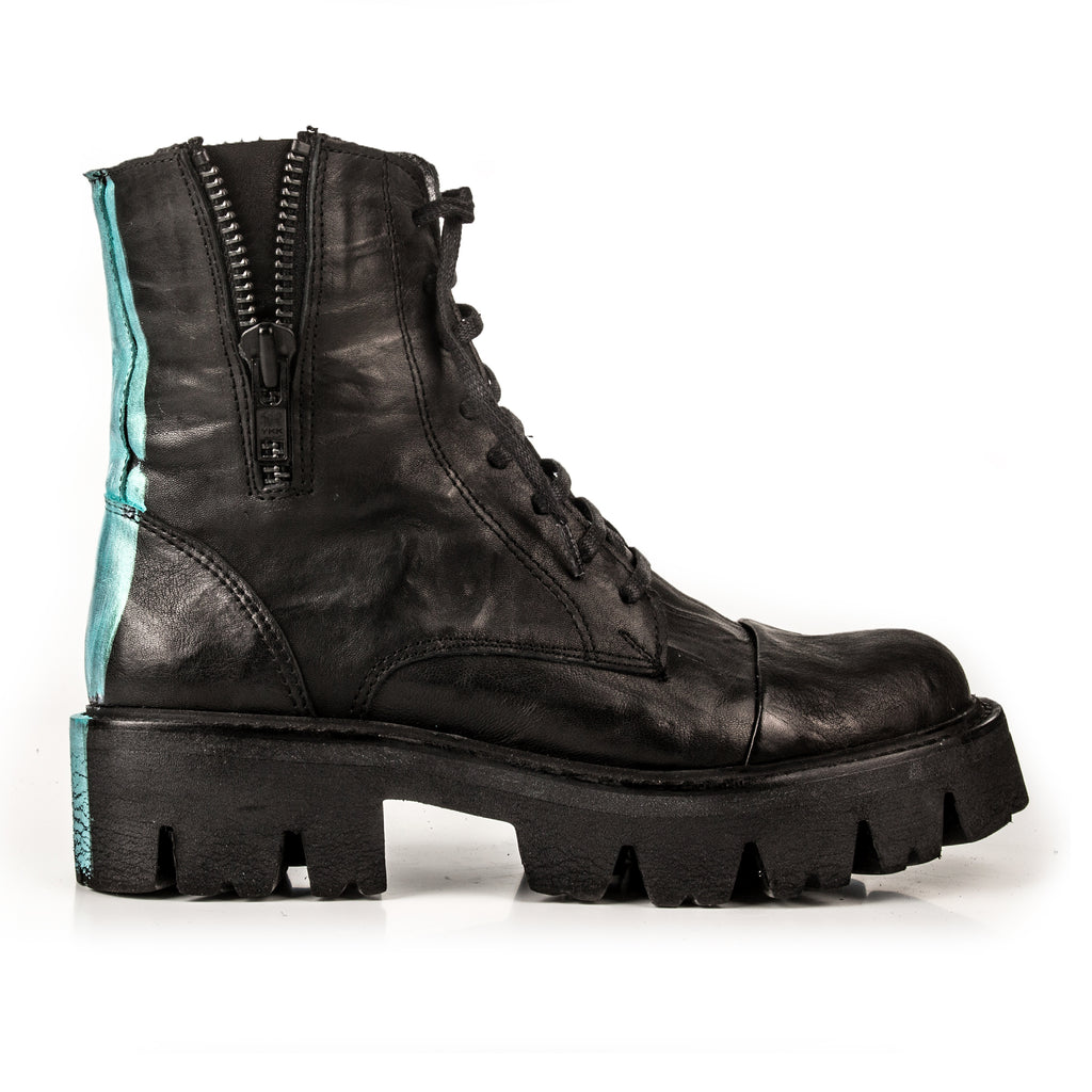 Sky- SG1010 Genuine Leather Stripe Painted Combat Boots- Unisex