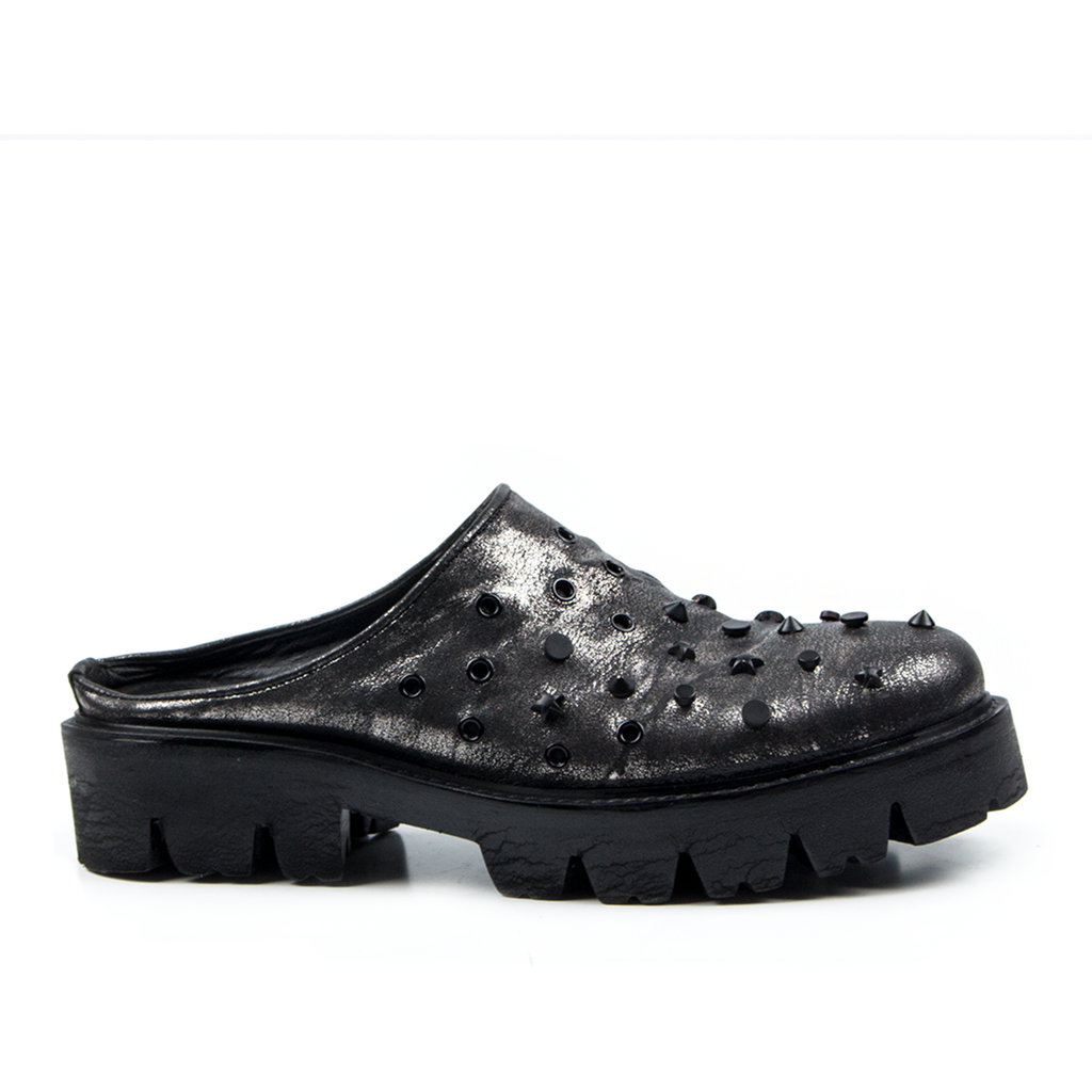 Cuba- SG1046 Silver Coated Genuine Leather Studded Slippers- Unisex