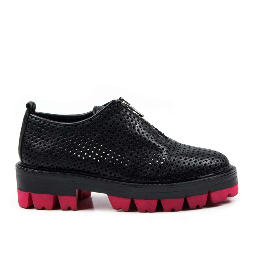 Joy- SG1041 Black Hole Punched Leather Summer Shoes