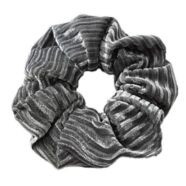 Stort velour scrunchie grå