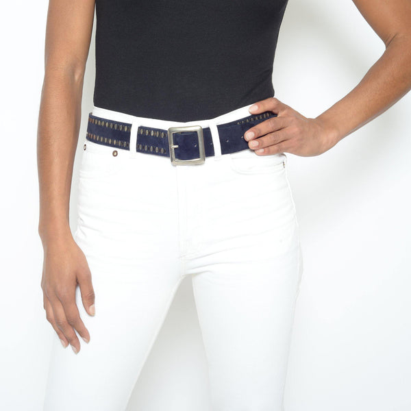 "woman wearing handmade navy blue suede leather 1.5"" belt for women with nickel and brass artwork - Calleen Cordero Designs"