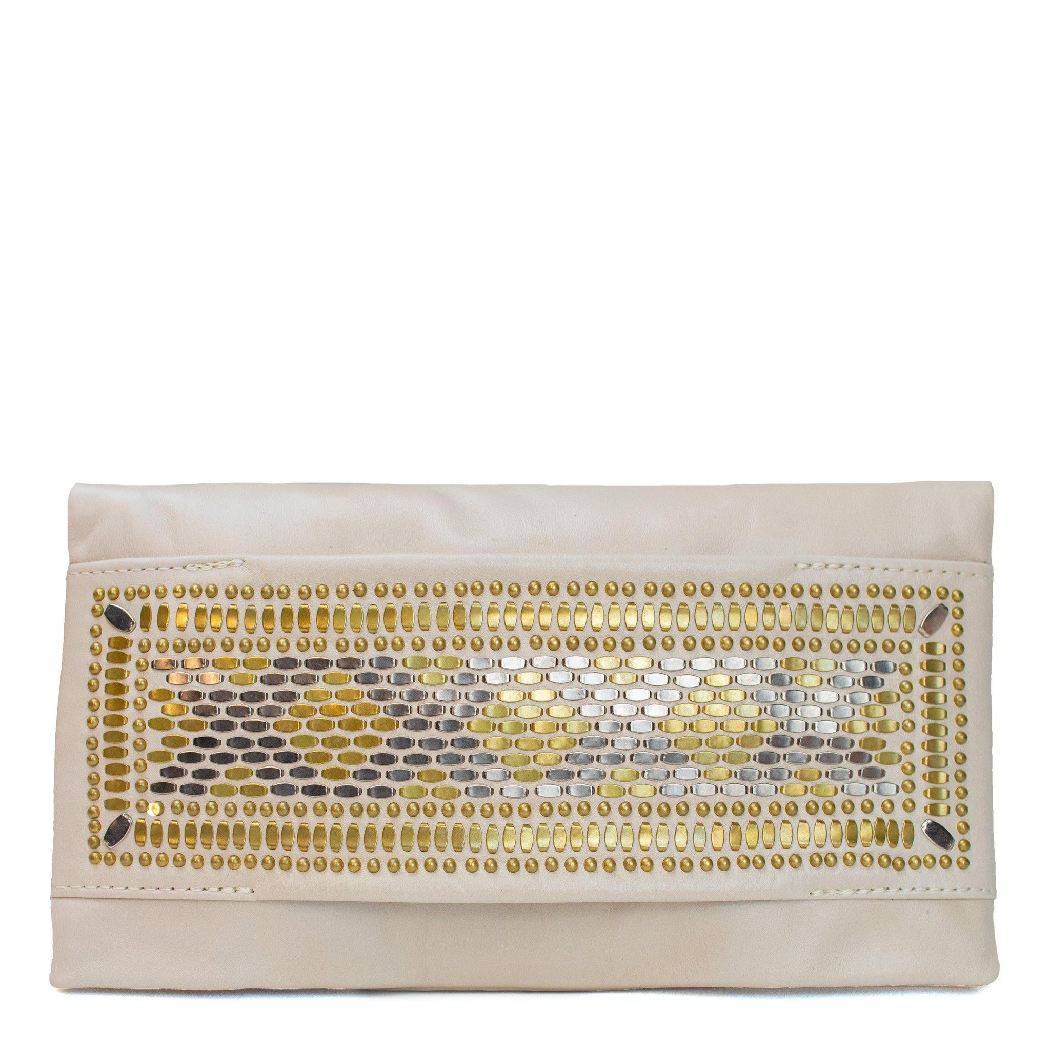 handmade white leather clutch handbag for women with brass and nickel studs artwork - Calleen Cordero Designs