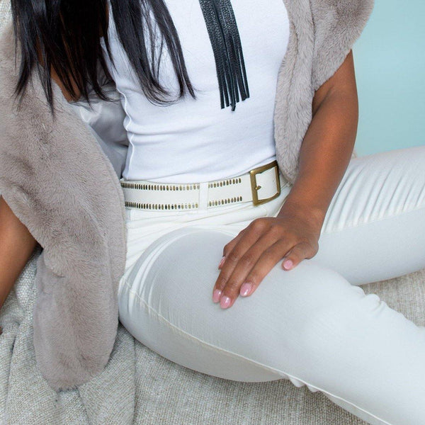 "woman wearing handmade white leather 1.5"" belt for women with nickel and brass studs artwork - Calleen Cordero Designs"
