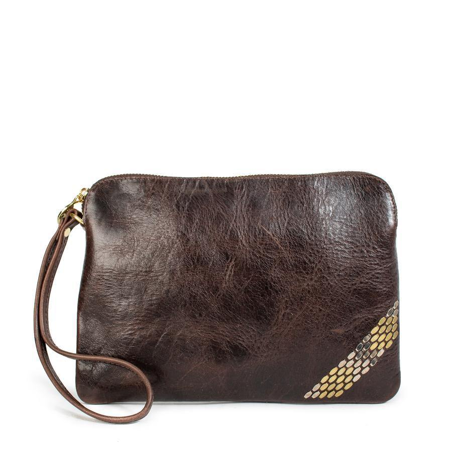 handmade brown leather wristlet handbag for women with nickel and brass artwork - Calleen Cordero Designs