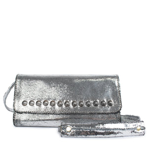 handmade silver mirror leather messenger handbag for women with nickel studs artwork - Calleen Cordero Designs