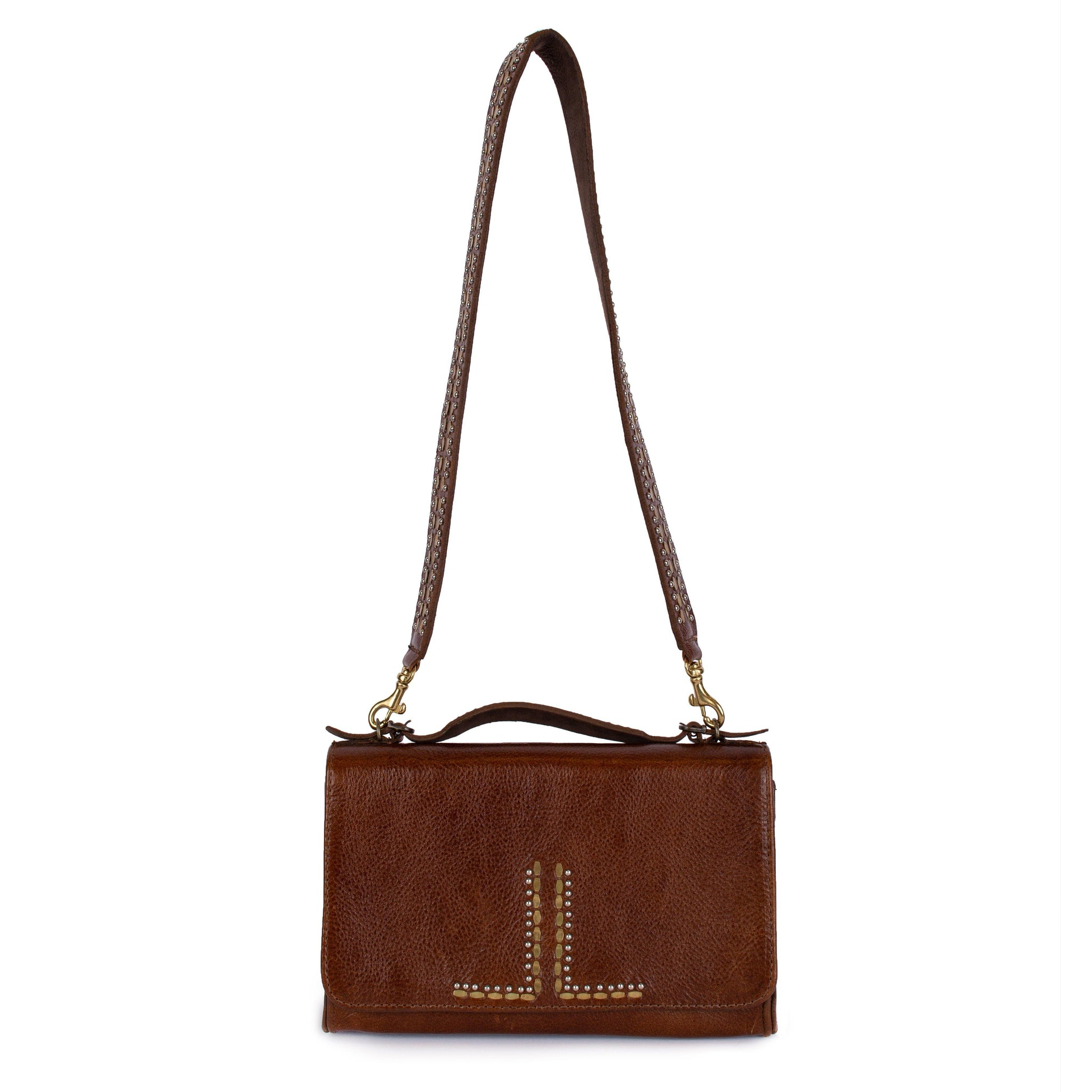 handmade brown leather handbag for women with brass and nickel studs artwork - Calleen Cordero Designs